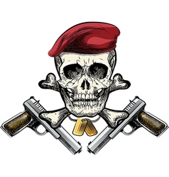 Skull in the beret vector image vector image
