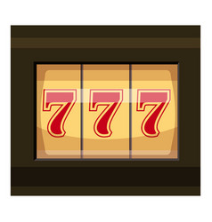 slot machine with three sevens icon cartoon style vector image
