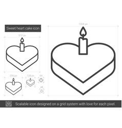 sweet heart cake line icon vector image