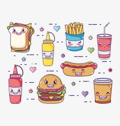 Fast food collection kawaii cartoons vector