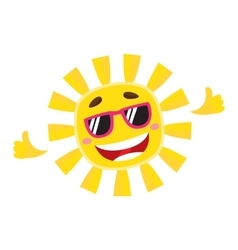 Smiling cheerful sun wearing sunglasses isolated vector