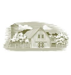 Woodcut Rustic Barn vector image vector image