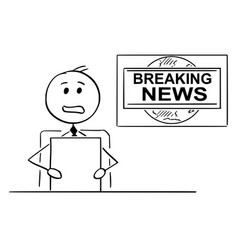cartoon of tv or television news reporter or vector image