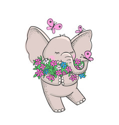 cute hand drawn elephant with flowers vector image vector image