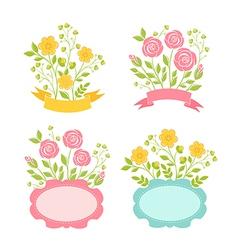 Floral romantic frames set vector image