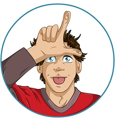 Guy Shows Loser Signal With His Fingers vector image vector image