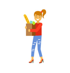 happy woman carrying a brown shopping bag with vector image vector image