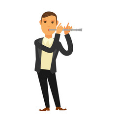 man in suit playing flute vector image vector image