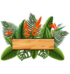 wooden board with bird of paradise in background vector image