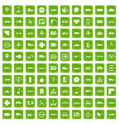 100 location icons set grunge green vector