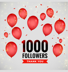 1000 followers thankyou poster with flying vector
