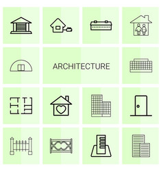 14 architecture icons vector