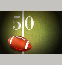 American football on turf field vector