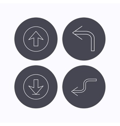 Arrows icons Download upload linear signs vector image