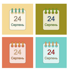 Assembly flat icons calendar ukraine independence vector