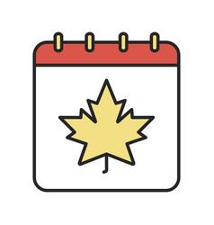 Autumn calendar color icon vector