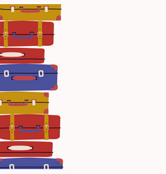 Background with retro suitcases trendy concept vector