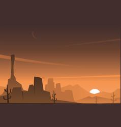 Beautiful rocky desert scene vector