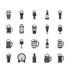Beer mug black silhouette icons set vector