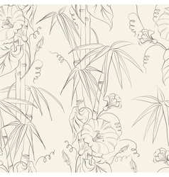 Bindweed flower and bamboo vector image