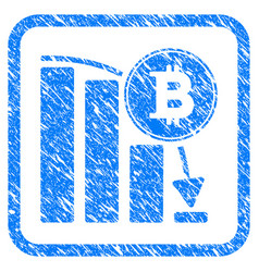 bitcoin falling chart framed stamp vector image