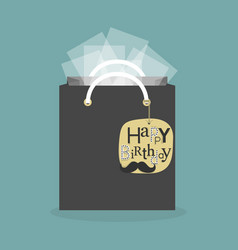 Black abstract gift bag and hanging birthday tag vector