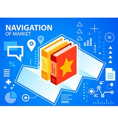 Bright navigate map and books on blue backgr vector