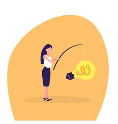 businesswoman fishing rod light lamp new idea vector image