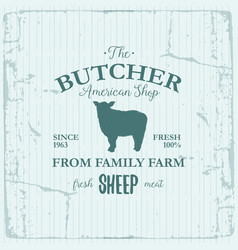 butcher american shop label design with sheep vector image