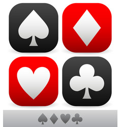 card suit symbols spade heart diamond and club vector image