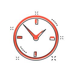 Cartoon alarm clock icon in comic style timer vector
