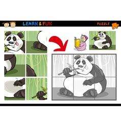 Cartoon panda bear puzzle game vector image
