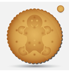 Christmas brown biscuit with gingerbread symbol vector