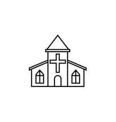 Church line icon religious monument and building vector