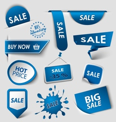 Collection web blue pointers labels for shopping vector