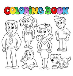 coloring book family collection 1 vector image