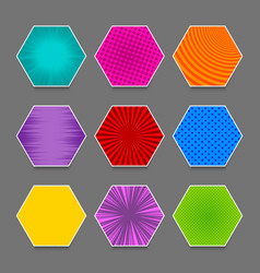 comic colorful hexagons set vector image