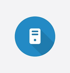 computer Flat Blue Simple Icon with long shadow vector image