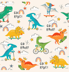 Cool dinosaurs skateboarders and cyclists vector