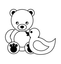 cute bear and rubbber duck toys kids vector image