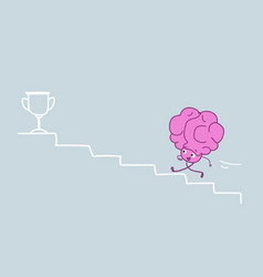 cute human brain climbing stairs up to golden vector image