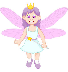 cute little fairy girl cartoon vector image