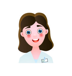 cute smiling woman dentist doctor with brown hair vector image
