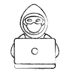 cyber thief avatar character with laptop vector image