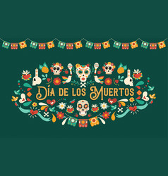 day dead mexican skull art greeting card vector image