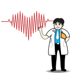 Doctor man red heart beats with cardiogram vector image