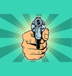 Dollar currency money finance revolver in hand vector
