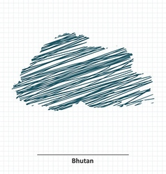 Doodle sketch of Bhutan map vector