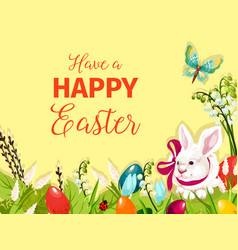 easter rabbit bunny with egg cartoon greeting card vector image