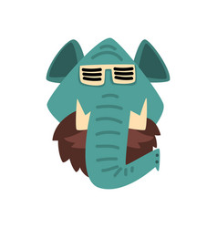 elephant wearing sunglasses hipster animal vector image